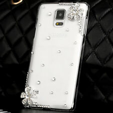 New Two Flowers Bling Crystal Rhinestone Back Hard Cover Case For Samsung Galaxy