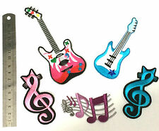 Iron-On Guitar Patch Music Notes Theme Symbol Cute Applique Embroidered Patches