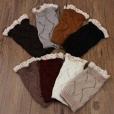 Lady Women Crochet Knitted Boot Cuffs Toppers Leg Warmers Socks with Lace Trim