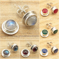925 Silver Plated MOONSTONE & Other Gems Variation STUDS POST Earrings GEMSET