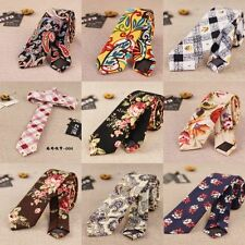 Men Retro Cotton Blend Narrow Skinny Necktie Neck Tie Floral Flower Mens Tie