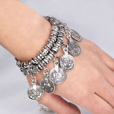 Women Turkish Jewelry Bohemian Ethnic Vintage Silver Coin Bracelet Anklet Chain