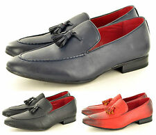 Mens Leather Lined Slip On Loafers Driving Office Shoes Tassel Design UK Sz 6-12