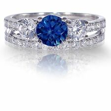 Brilliant Sapphire Engagement Wedding CZ Genuine Sterling Silver Ring Set 3 - 12
