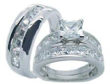 His and Hers Wedding Rings Solid 925 Sterling Silver Cz Wedding Ring Set