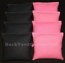 CORNHOLE BEAN BAGS Black & Light Pink  8 ACA Regulation Corn Hole Bags