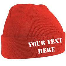Customised Beanie Adult Cuffed Woolly Knit Ski Hat with Name Slogan Personalised