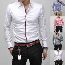 Mens Button Front Solid Tops Long Sleeve Slim Fit Casual Dress Business Shirts
