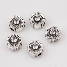 25/50Pcs Tibet Silver Charms Flower Shape Bead Jewelry Making DIY 6x3mm