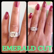 London**Emerald Cut 4.+CT Engagement Diamond Ring Fine.925.Silver ITALY