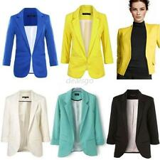 Fashion Women's 3/4 Sleeve Candy Color Blazer Casual Jacket Suit Coat D18