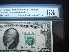 $10 1969 C  FEDERAL RESERVE NOTE***MINOR MISALIGNMENT ERROR**CHOICE**PMG 63**