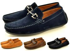 Men's Leather Look Casual Loafers Moccasins Slip on Shoes lace detail Size 6-11