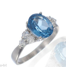 14K Solid White Gold Oval Cut Engagement Wedding Bridal Blue Topaz 5ct Ring