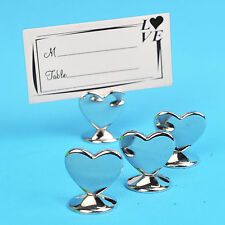 10/20/50 PCS Silver Alloy Heart Shaped Place Card Holders Wedding Shower Favors