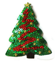 CHRISTMAS Sequins Appliques Iron On Embroidered Tree Wreath Poinsettia Present