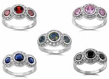 Halo Round Cut Large Promise Fashion Birthstone Sapphire Sterling Silver Ring