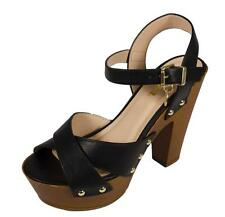 CHILI! Women's Peep Toe Platform Ankle Strap Faux Wood Chunky High Heel Sandal