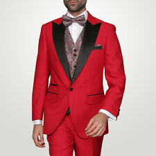 Red Tuxedo Suit Modern Fit 1 Button Black Trim Tonal Chalkstripe $899
