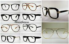 Retro Geek Vintage Aviator Nerd Frame Fashion Black  clear lens glasses  UK