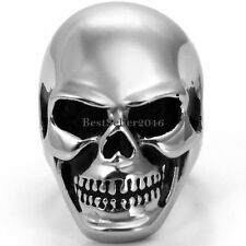 Heavy Gothic Skull Biker  High Polished Silver Tone Stainless Steel Men's Ring