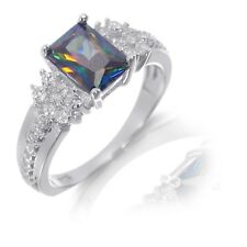 White Gold Emerald Cut Rainbow Topaz and Round Cut White Sapphire Silver Ring