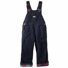 New OshKosh Boy Flannel Plaid Lined Navy Blue Corduroy Overalls NWT 2t 3t 4t 5t