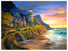Beach Sea Waves Oil Painting Print on Canvas Lighthouse Sunset Seascape Poster