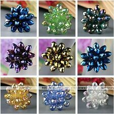 1x Flower Teardrop Crystal Glass Faceted Bead Finger Ring Gift US 7.5 Adjustable