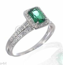 White Gold Emerald Cut Green w/ White Sapphire CZ Engagement Silver Ring Set