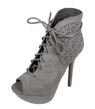 Lustacious Women's Letti-31 Peep Toe Lace Up Platform High Heel Ankle Booties
