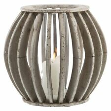 NEW Casa Uno Ball Cement/Glass Candle Holder in Grey, White
