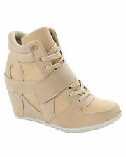 WOMENS BEIGE LACE UP WEDGE HI HIGH TOP TRAINERS BOOTS LADIES UK SIZE 3-8