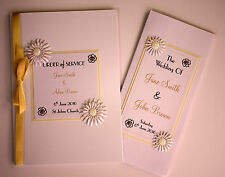 Handmade DAISY wedding : ORDER OF SERVICE / PROGRAMS ;60 colours/any qty