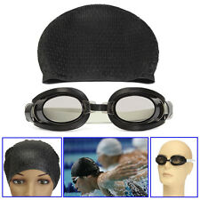 Waterproof Swimming Anti-fog Goggles Glasses + Swim Long Hair Cap Water Sports