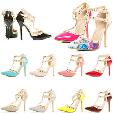 Closed Pointy Toe Pyramid Stud Strappy T Strap Mary Jane Stiletto Heel Pump Shoe