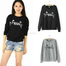 Fashion Women Casual Long Sleeve Cute MEOW Print T-Shirts Tops Blouse Sweatshirt