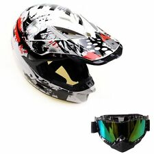 Face Adult Size Helmet & Goggle MX Sport Road Bike Motorbike ATV Quad Racing