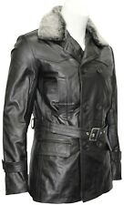 Mens Kriegsmarine German Pea Coat Black Hide Leather Winter Fur Collar Jacket