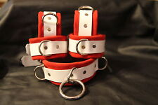 Six pc suede wrist ankle cuffs set red or choose color costume role play