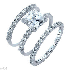 Princess Cut Engagement Wedding Eternity Three Ring Genuine Sterling Silver Set