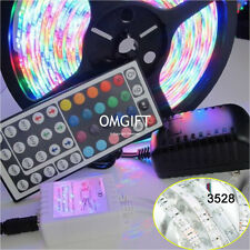 Waterproof 5M 3528 SMD RGB Strip Light 300LED & 44 Key IR Remote & 12V 2A Power
