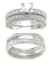 His Her Hers 3pc Cz Pave Set Engagement Wedding Bridal Ring Band Set