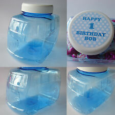 PERSONALISED BLUE CAR SWEET JAR BOY BABY SHOWER CHRISTENING BIRTHDAY PARTY GIFT