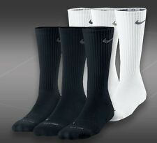 NIKE Crew Socks Size 10-12 -Women  Men's BLACK or WHITE~ 3 PAIR~