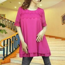 HOT PINK APPLIQUE LACE RUFFLE LAYER DRESS/TUNIC TOP #3068 SIZE L XL XXL