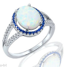 Fashion Halo White Fire Opal Oval Cut w/ Blue Sapphire CZ Sterling Silver Ring