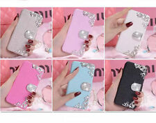 Silk Leather Flowers Diamonds Wallet Flip Magnetic Stand Case Cover for iPhone