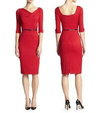 Black Halo Classic 3/4 Sleeve Jackie O Belted Red Women Cocktail Party Dress