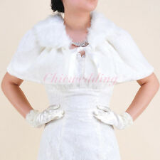 NEW Ivory Faux Fur Wedding Dress Cape Bolero Jacket Bridal Party Dress Wrap S-L